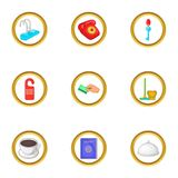 Hotel cleaning service icons set, cartoon style Stock Photography