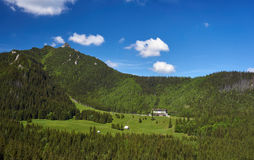 Hotel in a clearing in the Tatra Mountains Stock Photo