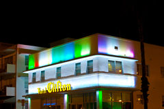 Hotel Clifton at the Ocean Drive in Miami Beach at night Stock Photo