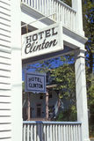 Hotel Clinton sign on porch in Cape May, NJ Royalty Free Stock Photo