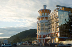 Hotel on the coast of Baikal in Listvyanka Stock Photography