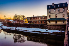 The Hotel Codorus, along Codorus Creek at sunset in downtown York, Pennsylvania. stock image