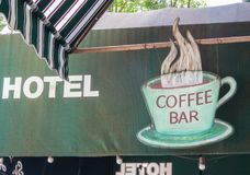 Hotel coffee shop sign stock images