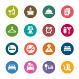 Hotel Color Icons Stock Photography