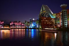 Hotel colorido del delfín y árboles de palmas iluminated magentas en la noche azul en el lago Buena Vista AR fotos de archivo libres de regalías