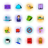 Hotel comics icons set Royalty Free Stock Images