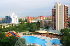 Hotel complex. Summer hotel with swimming pool stock photography