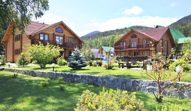 Hotel complex. Manor Sarzhevskih. Tourist-recreational special economic zone Biryuzovaya Katun. Altai. Russia Royalty Free Stock Images