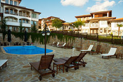 Hotel complex with a pool Stock Photo