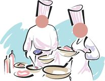 Hotel cooking. Very nice cooking work illustrated abstract line drawing Royalty Free Stock Photography