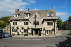 Hotel at Corfe Castle, Dorset. Stone-built hotel in picturesque village of Corfe Castle, Dorset Stock Photos