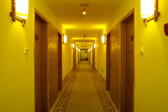 Hotel corridor. With light,nobody Stock Images