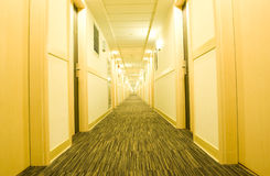 Hotel corridor. A long hotel corridor perspective with doors stock photos