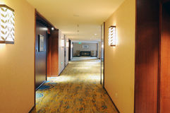 Hotel corridor. With light,nobody Royalty Free Stock Photography