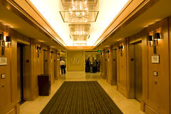 Hotel corridor with beautiful lighting. A luxury hotel corridor with beautiful lighting Stock Photography