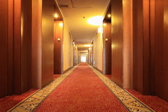 Hotel corridor with carpet Stock Photos