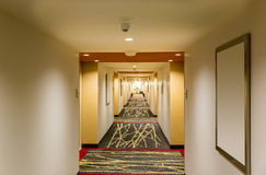 Hotel corridor interior. Hotel corridor interior with carpet. Empty hotel hallway Royalty Free Stock Photography