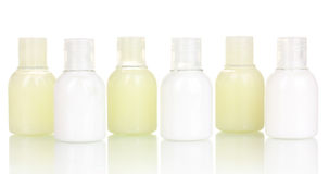 Hotel cosmetic bottles Royalty Free Stock Photo