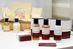 Hotel cosmetics kit. Consisting in shampoo, shower gel, soap Royalty Free Stock Images
