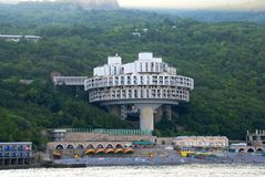 Hotel in Crimea, Ukraine. Hotel constructed in the form of a UFO Stock Photo