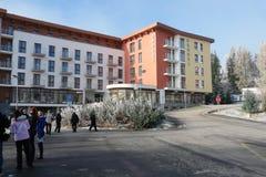 Hotel Crocus on Strbske Pleso. Stock Photo