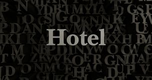 Hotel - 3D teruggegeven metaal gezette krantekopillustratie Royalty-vrije Stock Foto's