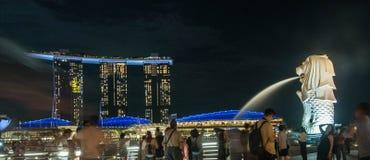 Hotel da baía do porto com merlion singapore Foto de Stock