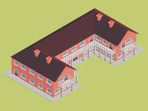 Hotel da construção de tijolo com vetor isométrico do telhado marrom Foto de Stock
