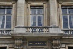 Hotel DE Coislin, Parijs Frankrijk, bij 4 DE La concorde, achtste dist, is waar de 'Verdragen van Vriendschap, Handel en Alliance Stock Afbeelding