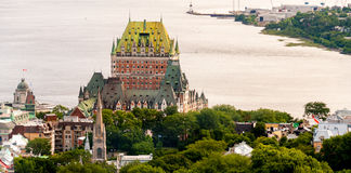 Hotel de Frontenac Hermosa vista del castillo de la ciudad de Quebec Fotografía de archivo