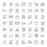 Hotel, de hoteldiensten, zwart-wit lineaire pictogrammen, witte achtergrond Royalty-vrije Stock Afbeeldingen