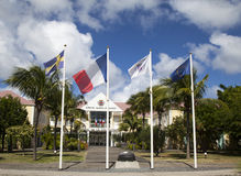 Hotel de la Collective, ayuntamiento anterior en St Barts, francés las Antillas Imagen de archivo libre de regalías