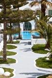 Hotel de lujo en la isla de Santorini, Grecia Fotos de archivo libres de regalías