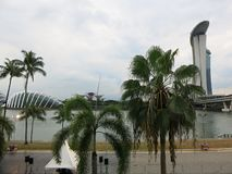 Hotel de lujo de Marina Bay en Singapur Edificios altos modernos Arquitectura y arte en la civilización moderna foto de archivo