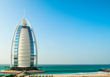 Hotel de luxo Burj Al Arab Tower dos árabes Imagens de Stock Royalty Free