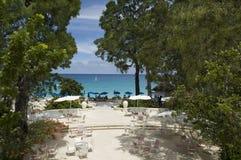 Hotel de luxo Sandy Lane, Barbados, mar das caraíbas foto de stock