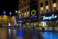 Hotel de Novotel na noite do Xmas Fotografia de Stock Royalty Free