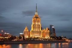 Hotel` de Oekraïne ` close-up aan de September-nacht moskou Royalty-vrije Stock Fotografie
