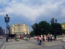 Hotel de quatro estações e quadrado de Manege em Moscou Foto de Stock Royalty Free