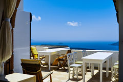 Hotel de Santorini Imagenes de archivo