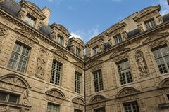 The Hotel de Sully, Paris, France. The hotel de Sully ,its mannerist ornamental motifs are representative of the late Renaissance: heads of women, plant motifs Stock Photo