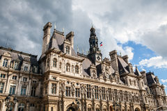Hotel-de-Ville City Hall in Paris - building housing City of Paris`s administration. Stock Images