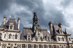 Hotel-de-Ville City Hall in Paris - building housing City of Paris`s administration. Stock Photos