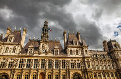 Hotel-de-Ville City Hall in Paris - building housing City of Paris`s administration. Stock Photo