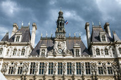Hotel-de-Ville City Hall in Paris - building housing City of Paris`s administration. Royalty Free Stock Photo