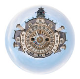 Hotel de Ville (City Hall) in Paris. Little planet - urban spherical view of Hotel de Ville (City Hall) in Paris isolated on white background Stock Images