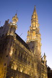 Hotel de Ville at Night. Hotel de Ville; Grand Place Square; Brussels; Belgium Stock Image