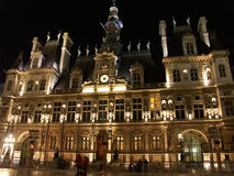 Hotel de Ville at night. Paris, France royalty free stock photos
