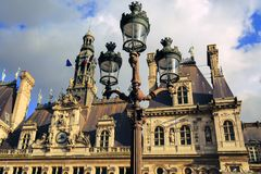 Hotel DE Ville in Parijs, Frankrijk stock foto's