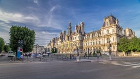 Hotel de Ville or Paris city hall timelapse hyperlapse in sunny day. stock footage